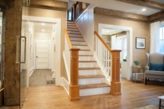 Antique Heart Pine stair treads, antique heart pine newell posts, antique heart pine hand rails