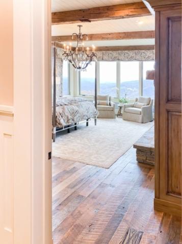 Antique Reclaimed Hand Hewn Beams + Reclaimed Oak Flooring