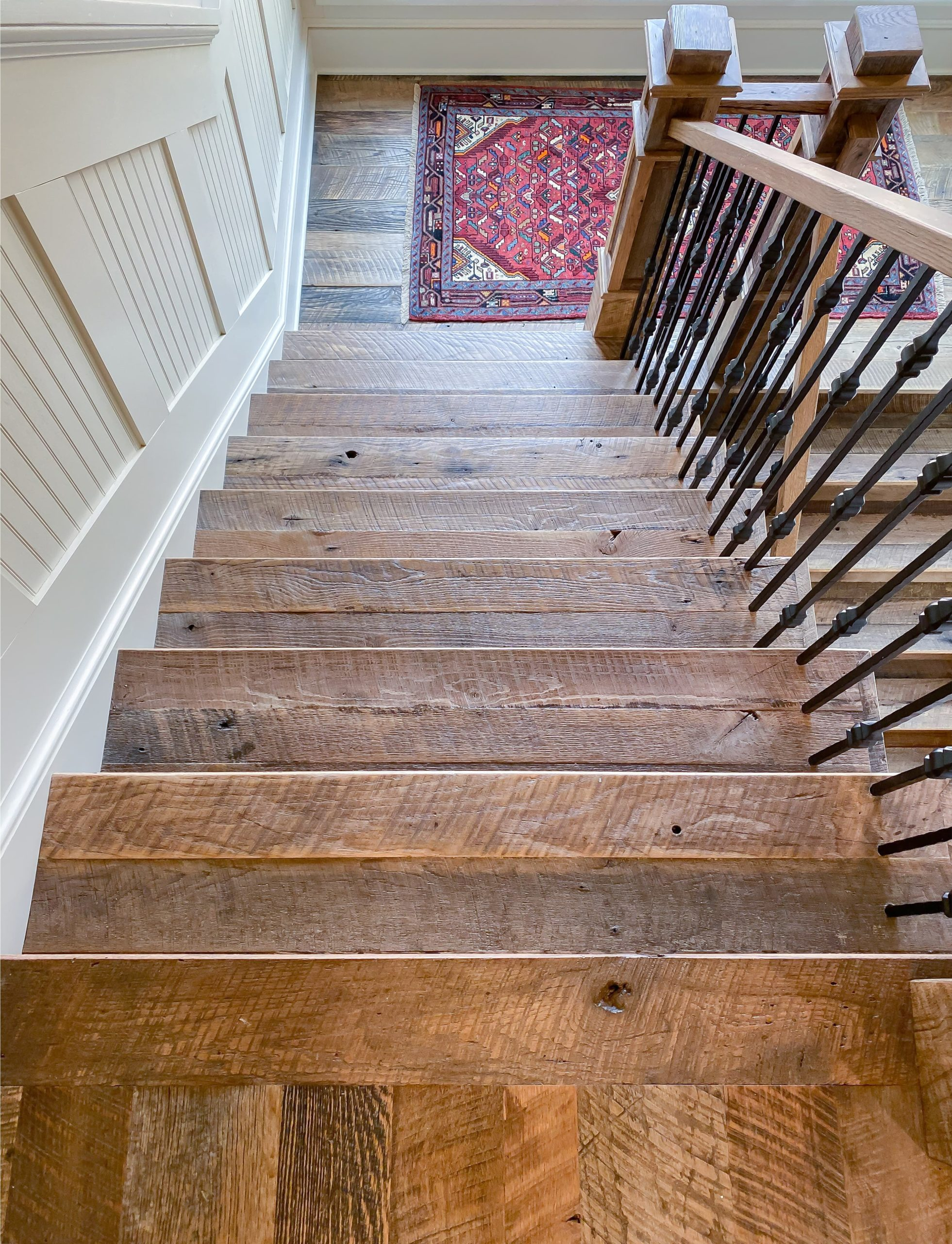 Antique Reclaimed Original Face Oak Stair Parts | Treads, Risers, Newel Posts
