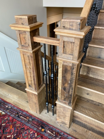 Antique Reclaimed Original Face Oak Stair Treads, Risers + Newel Posts
