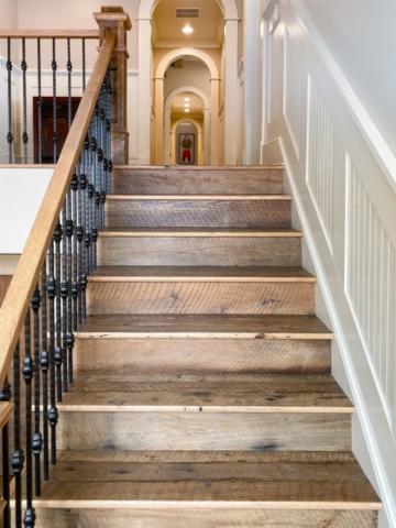 Antique Reclaimed Original Face Oak Stair Treads, Risers + Newel Posts