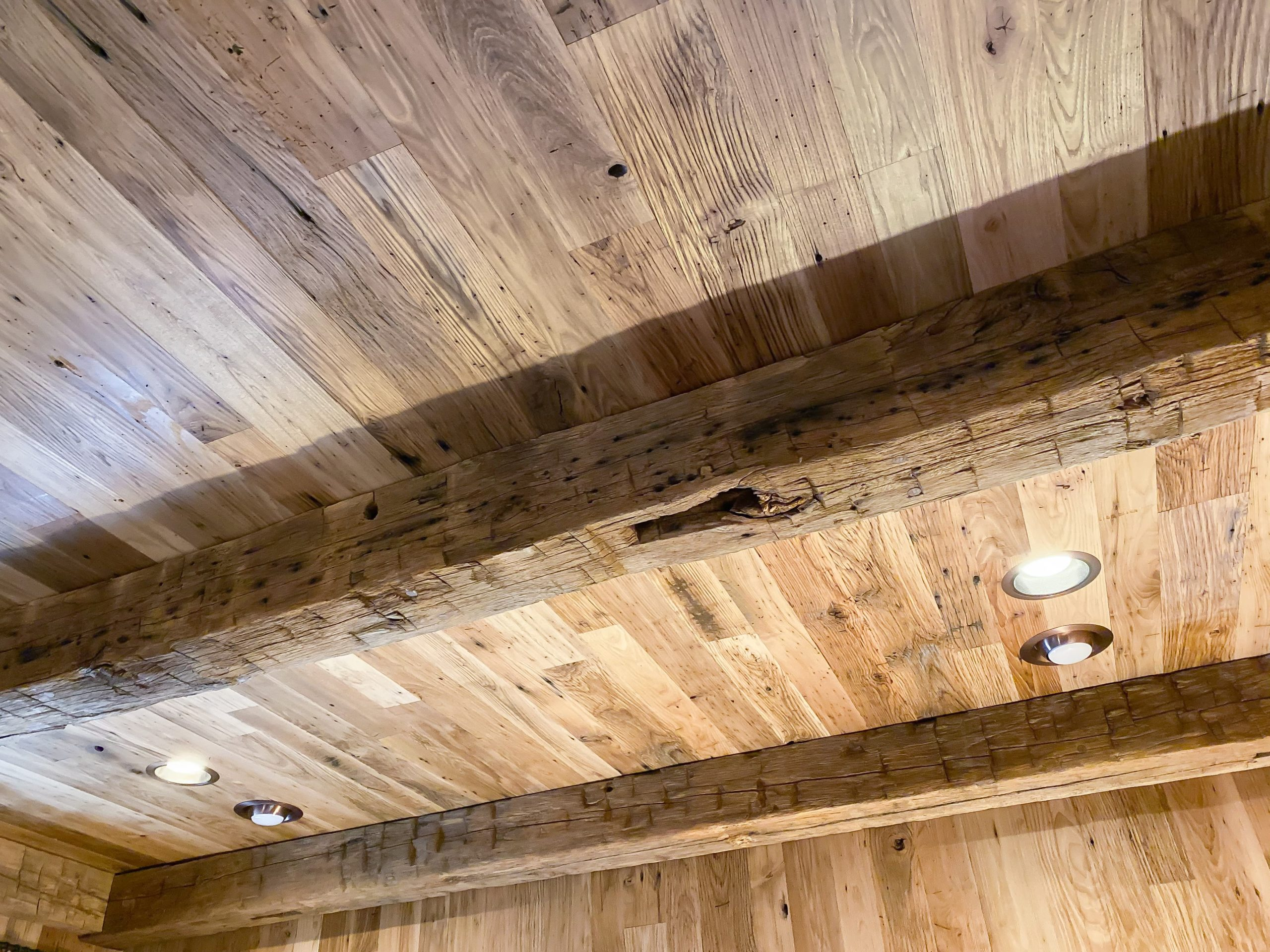 Wormy Chestnut Ceiling Planking & Hand Hewn Beams
