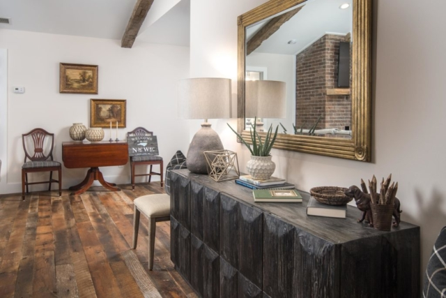 Original Face Reclaimed Oak Flooring and Antique Hand Hewn Beams - Mixed Hardwoods