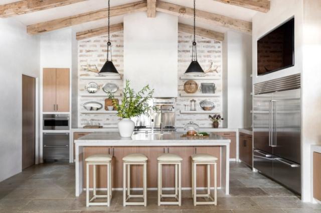 Bleached Rough Sawn Barn Beams and European White Oak Flooring