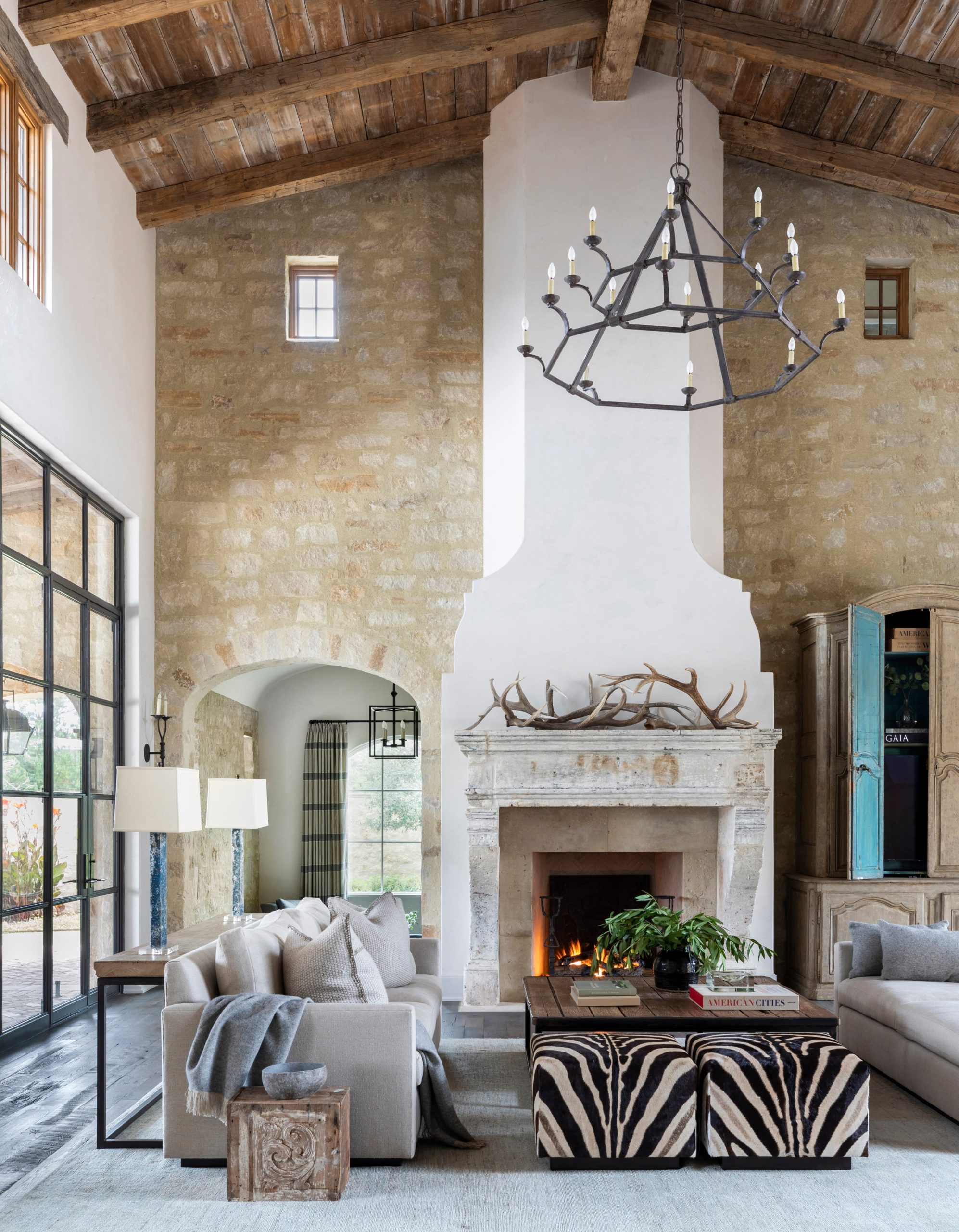 Antique Hand Hewn Beams and Brown Barnwood Ceiling Planking