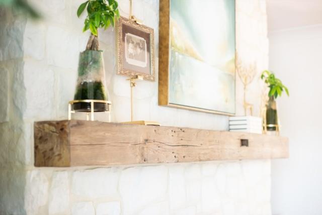 Antique White Oak Solid Mantel