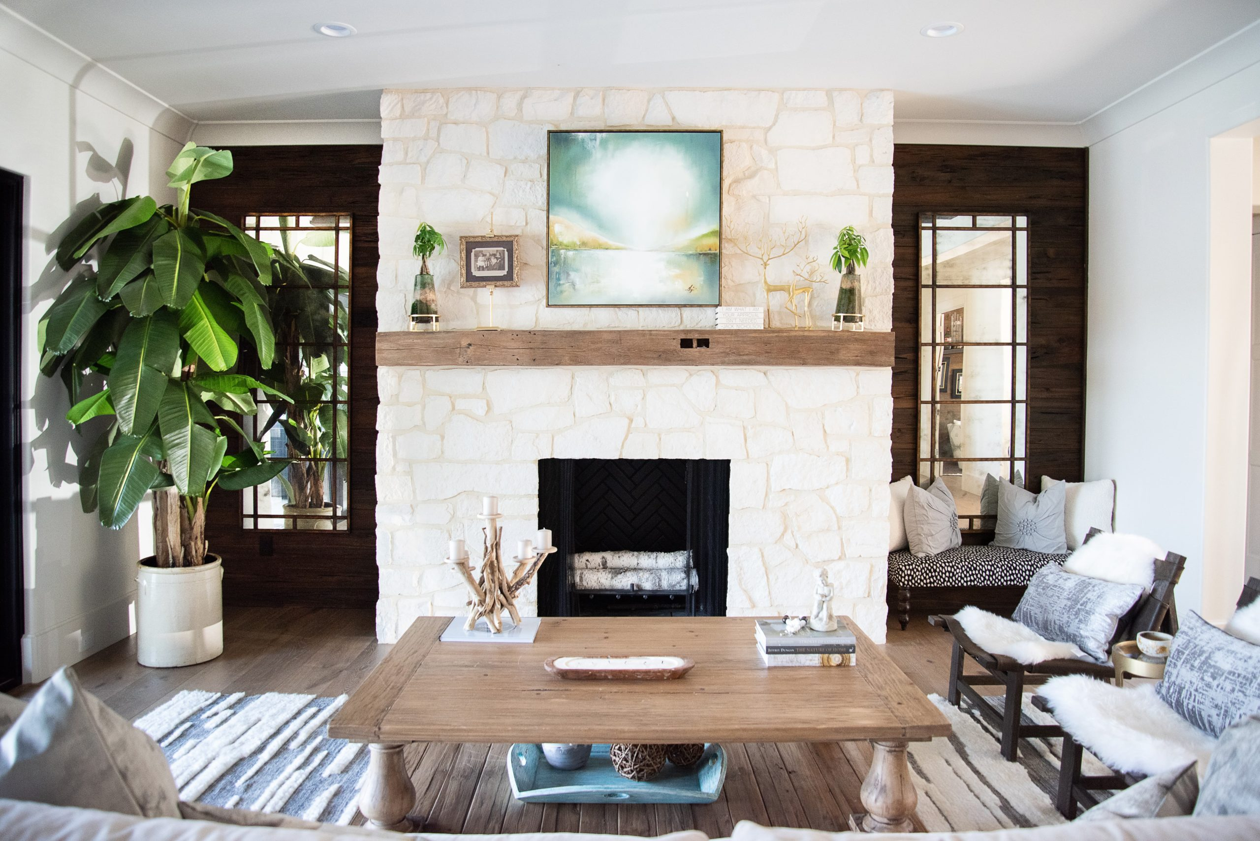 Southend Reclaimed - Antique White Oak Solid Mantel 3 Pecky Cypress Wall Paneling