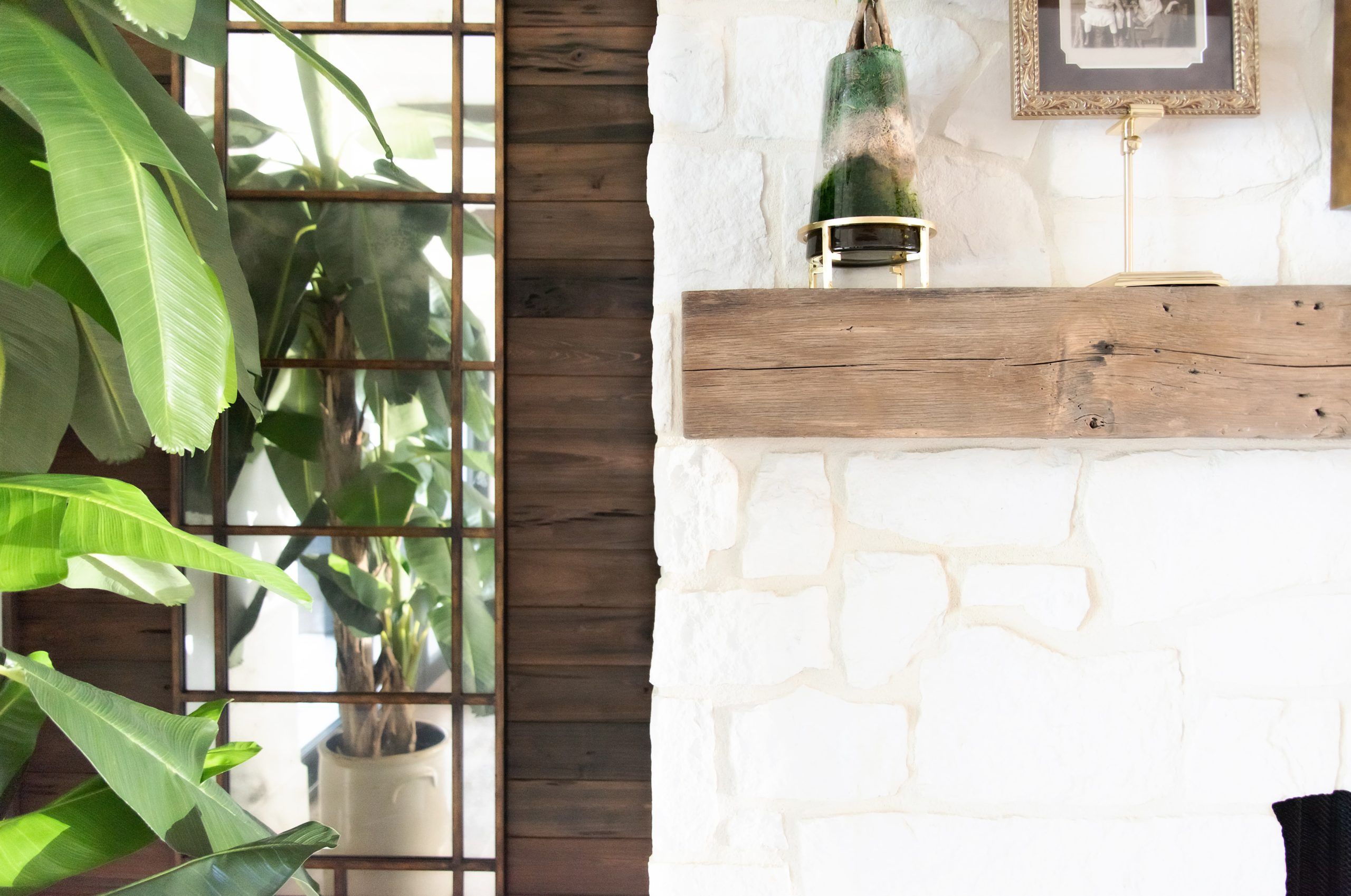 Southend Reclaimed - Antique White Oak Solid Mantel 5 Pecky Cypress Wall Paneling