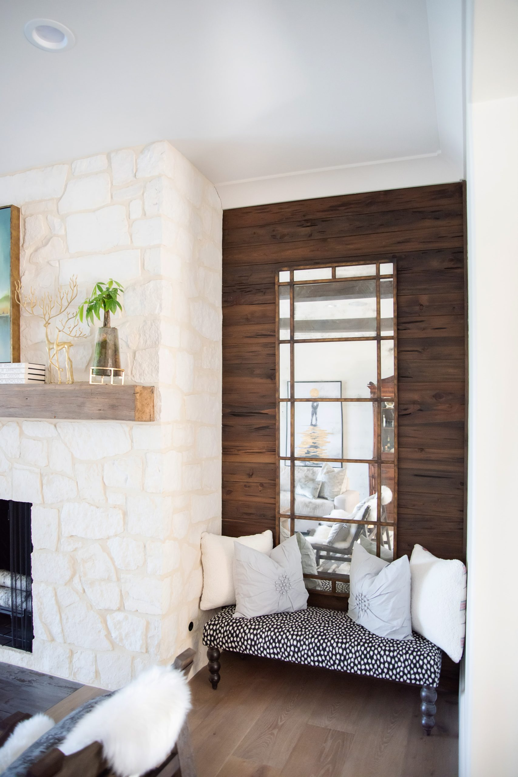 Southend Reclaimed - Antique White Oak Solid Mantel and Pecky Cypress Wall Paneling