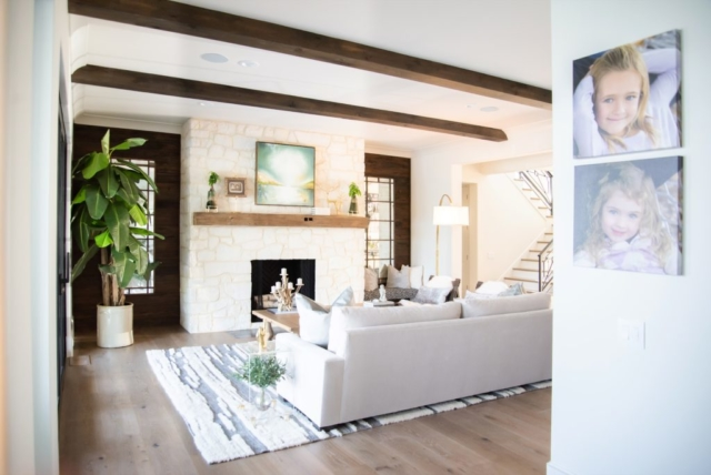 Southend Reclaimed - Antique White Oak Solid Mantel and Smooth Face White Oak Box Beams Pecky Cypress Wall Paneling