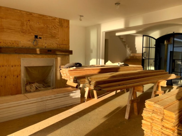 Solid Box Beam Mantel and New Pecky Cypress