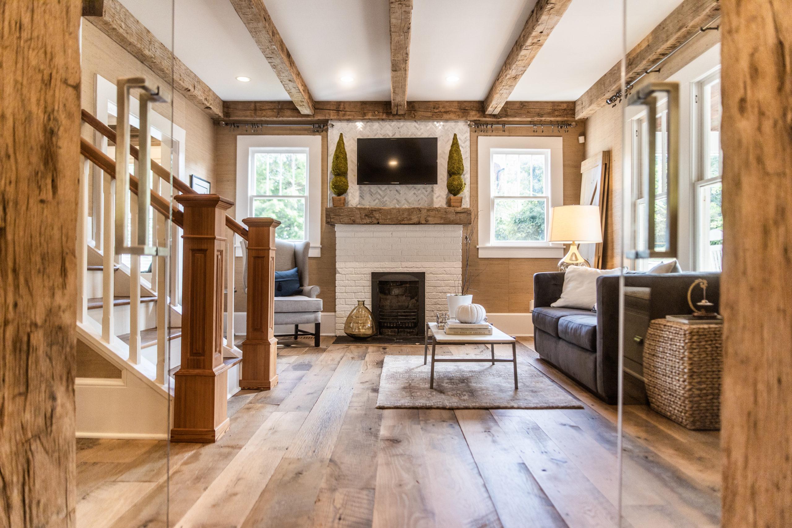 Original Face Skip Planed Antique Reclaimed White Oak Flooring, Antique Reclaimed Hand Hewn Beams + Mantel