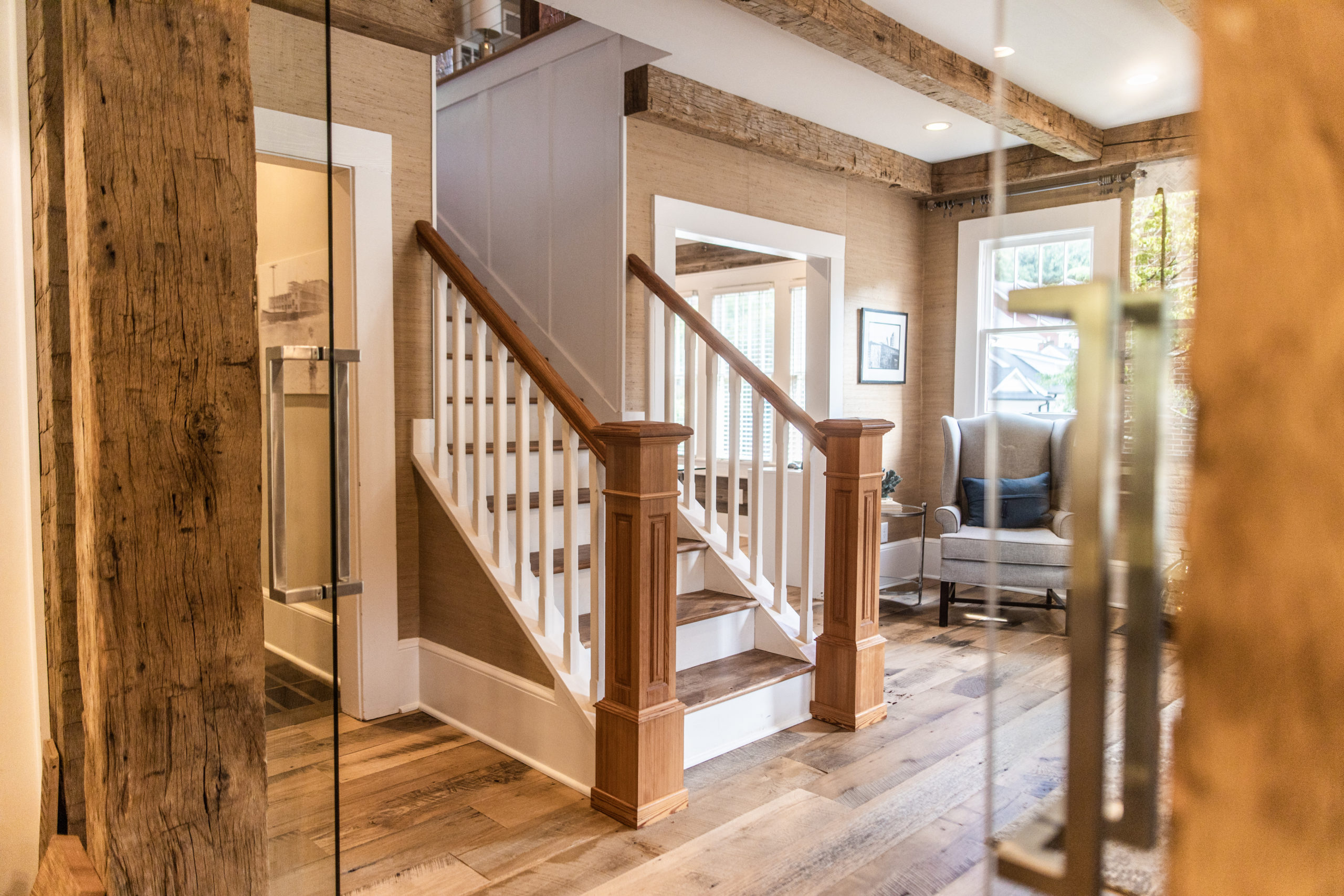 Antique Heart Pine Stair Treads, Newell Posts & Handrails